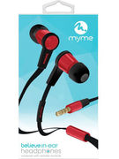 MYME HANDSFREE EARPHONES (ROUGE/NOIR) (69071)